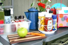 Create An Outdoor Camping Kitchen - Echoes of Laughter Camping Snacks, Camping Items, Camping Glamping, Camping Supplies, Diy Camping, Outdoor Camping, Camping Kitchen, Camping Gadgets, Backyard Camping