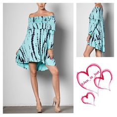 Off-the-shoulder Tie-dye Dress Off-the-shoulder Fold Over Neckline Tie-dye Dress