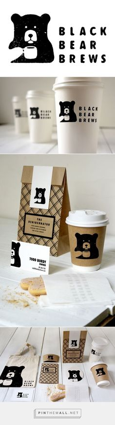 Black Bear Brews packaging on Behance by Todd Bordy curated by Packaging Diva PD. For a type and layout class and thought it would be fun to come up with and brand a Coffee Shop #Logodesign