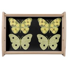 """""""Butterflies""""  Sage/Yellow Serving Tray"""