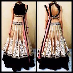 Net & Velvet Thread Work Black & Beige Semi Stitched Bollywood Style Lehenga - 9252 at Rs 4329