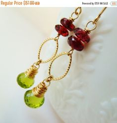 30% SALE Garnet and Peridot gold earrings. Red Garnet earrings. Green Peridot earrings. Garden earrings. Mother's day gift. Red and Green.