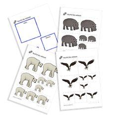 Sort by Size of the serie Zoo Animals. Zoo Animals, Sorting, Free Printables, Preschool, Free Printable, Kid Garden, Kindergarten, Preschools, Kindergarten Center Management