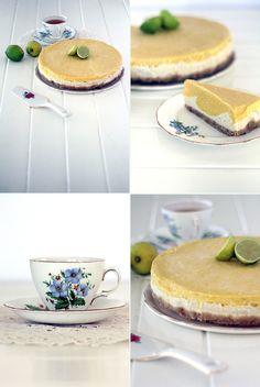 Macadamia Crusted Mango & Lime Raw 'Cheesecake', Renée Naturally www. Raw Vegan Desserts, Raw Vegan Recipes, Vegan Cake, Vegan Treats, Wine Recipes, Dessert Recipes, Raw Cheesecake, Raw Cake, Eating Raw