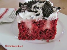 Red Velvet Poke Cake  Ingredients:  1 box Red Velvet cake mix  ingredients needed to make cake (eggs, oil & water)  2 (3.4 oz.) boxes instant Cheesecake-flavored pudding  4 cups milk  1 (8 oz.) tub frozen whipped topping, thawed  10 Oreo cookies, crushed (optional)