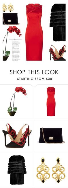 """""""Satin Red Dress..."""" by unamiradaatuarmario ❤ liked on Polyvore featuring Nearly Natural, Charlotte Olympia, Rodo and AINEA"""