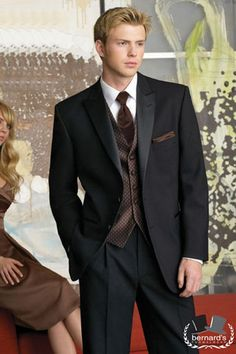Rent tuxedos, suits, wedding tuxes, & formal wear from Savvi Formalwear. Groom gets a free tux rental! Tuxedo Wedding, Black Tie Wedding, Wedding Suits, Brown Vest, Red Vest, Costume Smoking, Designer Tuxedo, Mens Tux, Tux Rental