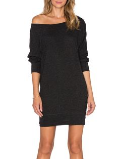 Black Charcoal Boat Neck Jumpers Long Sleeve Bodycon Dress -SheIn(Sheinside)