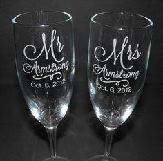 Personalized Wedding Toasting Glasses - CUSTOM ENGRAVED - wedding glasses - toasting glasses - champgane flutes. $38.00, via Etsy.