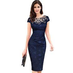 My Style · Sera del partito del vestito dall ufficio della matita  increspata merletto del ricamo dell  ce4b49ace41