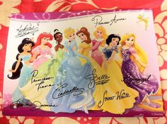 If you write a letter to a character at Disney (Walt Disney World Communications P.O. Box 10040 Lake Buena Vista, FL 32830-0040), they will send you an autographed photo back! HOW COOL IS THAT