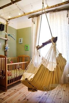 How cool is this nursery??! Love the swing.