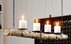 This beautiful candle chandelier will hang your house a warm and rustic elegance. Hanging Candle Chandelier, Branch Chandelier, Candle Lanterns, Candle Sconces, Pillar Candles, Outdoor Chandelier, Support Bougie, Nautical Candles, Wood Crafts