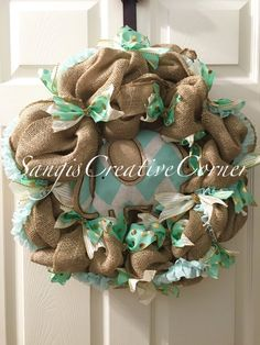 Burlap Wreath with a Baby Elephant Center by SangisCreativeCorner