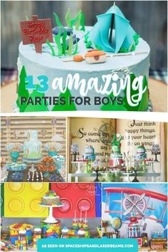 Summer is winding down and party time is revving up! Boys of all ages will love the birthday parties featured in this collection of themes. Discover creative ideas for back-to-school celebrations, a disco monkey theme Birthday Themes For Boys, Kids Party Themes, Birthday Party Games, First Birthday Parties, Birthday Party Decorations, Party Ideas, Birthday Ideas, Kid Parties, Twin Birthday
