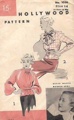"""Vintage 1930's Sewing Pattern Hollywood Bette Davis Pussy Bow Blouse B 32"""" #Hollywood"""