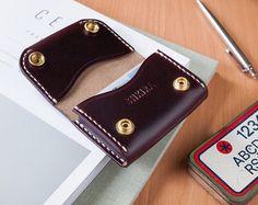 Horween Chromexcel No8 cuero tarjeta de crédito caso buey sangre Borgoña