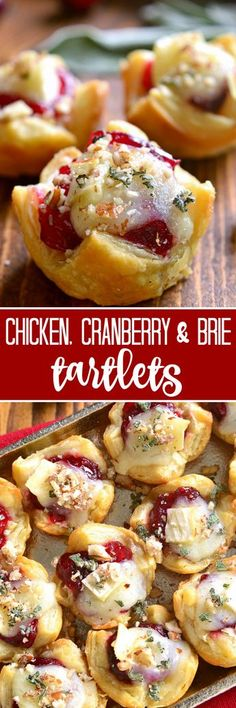 These Chicken, Cranberry & Brie Tartlets combine all the best flavors of the season in one delicious little bite. Perfect for all your holiday parties, these tartlets are sure to become a new favorite! Update on your brie apple cranberry bake? Quick Appetizers, Finger Food Appetizers, Holiday Appetizers, Appetizer Recipes, Holiday Recipes, Holiday Parties, Party Appetizers, Holiday Foods, Holiday Desserts