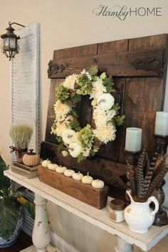 Do it Yourself White Pumpkins and Vintage Sugar Mold Fall Mantel Inspiration Home Decor Ideas for Autumn via The Hamby Home