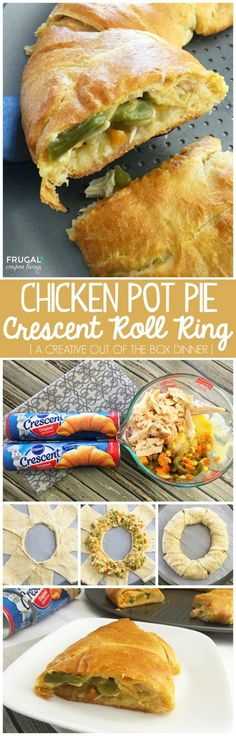 Chicken Pot Pie Crescent Roll Ring Dinner Entree Recipe on Frugal Coupon Living. Pillsbury Crescent Roll Easy Dinner Idea.