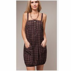 BROWN PLAID BUTTON FRONT TANK DRESS Cute piece for summer with wide shoulder straps and button front Boutique Dresses Mini