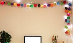 cubos de papel para decorar luzes pisca-pisca – origami