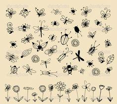Коллекции насекомых эскиз для вашего дизайна - Стоковая иллюстрация: 4067530