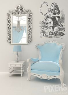Wall Mural alice in wonderland: alice with flamingo - alice • PIXERSIZE.com