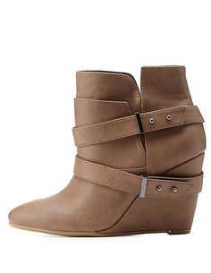 Belted Pointed Toe Wedge Booties #CharlotteRusse #CharlotteLook #shoes #boots