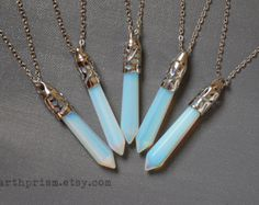 Opalite Crystal Point Pendulum Wand Pendant Necklace Silver chain  or Leather Cord / Opalite necklace / Opal stone / Irridescent Gemstone