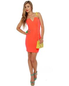 Dynamo Strapless Neon Coral Dress @lulus.com