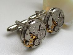 Steampunk Jewelry, Steampunk Cufflinks - with small round vintage watch movements.  Vintage upcycled mens Cuff Links,  Gift under 30 Dollars, $29.00