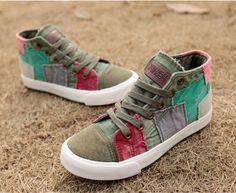 8fd03268113f1 Baskets femme toile, baskets textile style patchwork, baskets hautes toile  , chaussures femme tendance