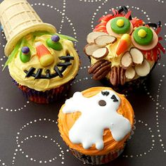 Scarecrow, Owl and Ghost Cupcakes. How to make these + more Halloween ideas: http://www.midwestliving.com/food/holiday/easy-halloween-sweets-snacks/page/18/0