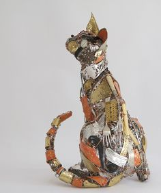 Barbara Franc sculptor using recycled metals including tin and copper to make unique artworks inspired by animals and the human form. Alley Cat, Found Object Art, Ceramic Animals, Animal Sculptures, Recycled Art, Cat Art, Altered Art, Art Lessons, Art Dolls