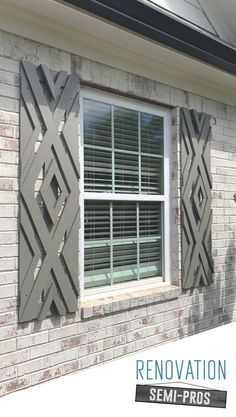 Want designer shutters without the designer-cost? Check out this tutorial and get inspired to go beyond basic and create your own DIY custom shutters! Custom Shutters, Diy Shutters, Outside Window Shutters, Modern Shutters, Window Shutters Exterior, Beach House Style, Future House, My House, House Shutters