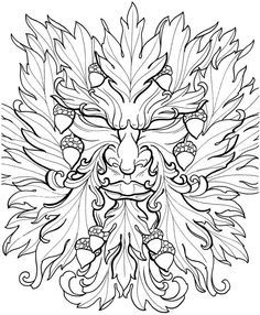 Green Man Art ~ Welcome to Dover Publications Creative Haven Floral Tattoo Designs Coloring Book Flower Coloring Pages, Coloring Book Pages, Printable Coloring Pages, Mandalas Painting, Mandalas Drawing, Floral Tattoo Design, Tattoo Designs, Desenho Tattoo, Book Of Shadows