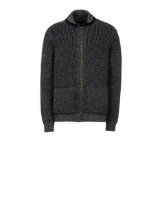 Zip through sweater with side pockets in full cardigan rib cashmere. Regular fit.