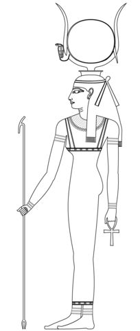Hathor, Ancient Egyptian Goddess Coloring page