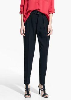 Pantalon à ceinture anneaux - Pantalons pour Femme | OUTLET