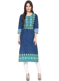 Jaipur Kurti\'s Cotton Floral Print 3/4th Sleeves Blue Kurti.Price Rs 764 Buy now https://secure.craftsvilla.com/#!/buy/cart