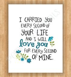 8x10 Remembrance Art Print - I Carried You Quote - Baby Boy Child Loss (Miscarriage, Stillborn, Angel Baby)