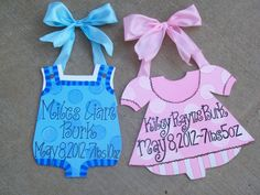 Baby Boy & Baby Girl birth announcement hospital/home door hanger. Can be personalized any way you wish...or info can be filled in after the birth. $20 each. Check out my facebook page (Blue Pickle Designs) for lots more items & ordering!!