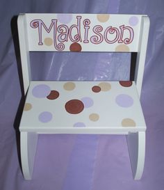 Childrenu0027s White or Natural Flip Step Stool Bench - Polka Dots (Purple/Brown) & Childrenu0027s Hand Painted Pink and White Girls Step Stool | Kid ... islam-shia.org