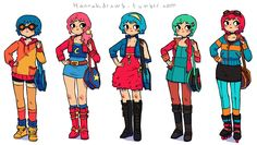 hannakdraws: Yeah. This is a bunch of Ramonas for some kind of Scott Pilgrim contest I guess. I wanted to colour them traditionally - but t...