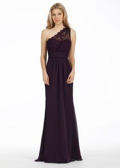 f5b93bd1cda Plum luminescent chiffon A-line bridesmaid gown