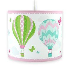 Kinderzimmer Hängelampe mit Heißluftballons in rosa, grün und türkis Ø 40cm, made in Germany