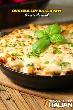 BAKED ZITI SKILLET. 25 Minutes and One Pan ~ packed with cheese, sauce, pasta and hot Italian sausage to give it a fantastic KICK!