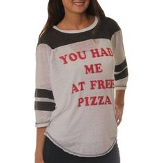 Women's You had me at Free Pizza Graphic Football T-Shirt, Size: Small, Black