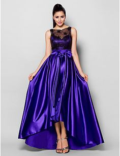 Formal Evening Dress - Regency A-line Bateau Asymmetrical Stretch Satin – USD $ 139.99